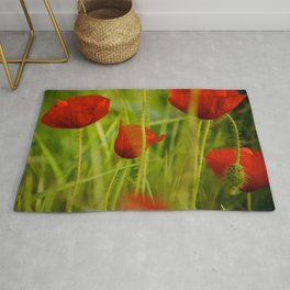red poppies in the sun Rug
