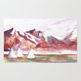 Three Jewels Watercolor Painting of Three Tipis Rug