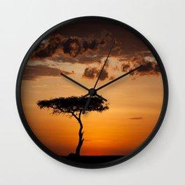 Sunset at Masai Mara Wall Clock