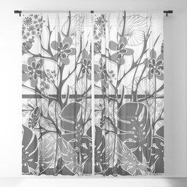 White black pattern, tropics Sheer Curtain