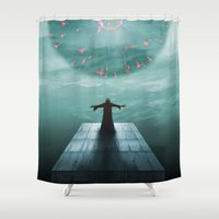 nordic Shower Curtains featuring Nordic magician by Tony Vazquez