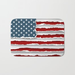 design flag united states of america from torn papers with shadows Bath Mat