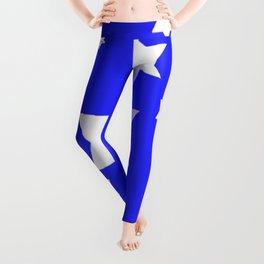 WHITE STARS ON BLUE DESIGN ART Leggings