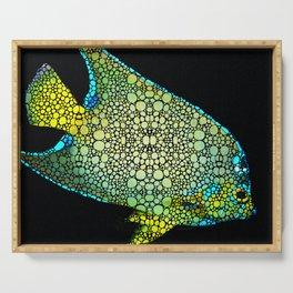 Tropical Fish Art 8 - Abstract Mosaic By Sharon Cummings Serving Tray