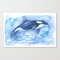 orca Canvas Prints featuring Orca by Nicole Marie Walker