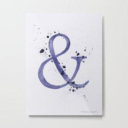 Ampersand - Blue Splatter Metal Print