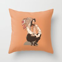 indie Throw Pillows featuring Indie Chief by joshuahillustration