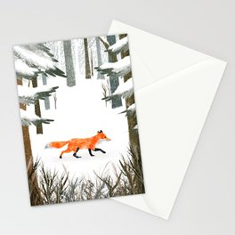 Fox In A Late Winter Snowfall Stationery Cards