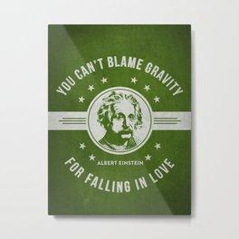Albert Einstein - Green Metal Print
