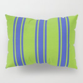 Blue lines on a green background Pillow Sham