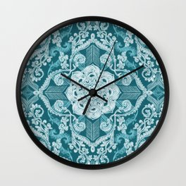 Centered Lace - Teal  Wall Clock