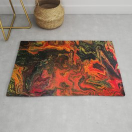 Fluid Art Acrylic Painting, Pour 10, Black, Red, Yellow & Orange Blended Color Rug