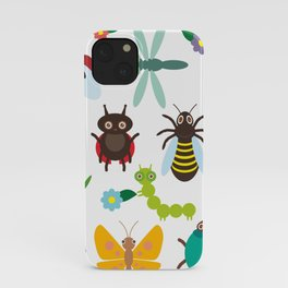 Funny insects Spider butterfly caterpillar dragonfly mantis beetle wasp ladybugs iPhone Case