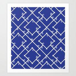 Bamboo Chinoiserie Lattice in Blue + White Art Print