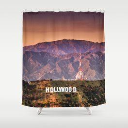 hollywood sign aerial view Shower Curtain