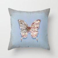atlanta Throw Pillows featuring butterfly atlanta by Steffi Louis