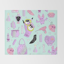 Witchy Pastel Goth: My Favorite Things Throw Blanket