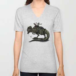 Zombies Riding a Trex Unisex V-Neck