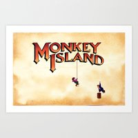 monkey island Art Prints featuring Monkey Island - Treasure found! by Sberla
