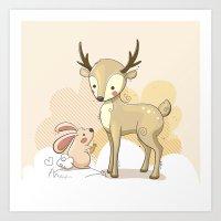 the deer & rabbit Art Print