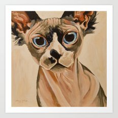 Hairless Sphynx Cat Art Print