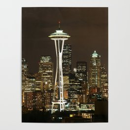 Seattle Space Needle at Night - City Lights Poster