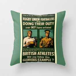 British rugby, football players call for duty Throw Pillow