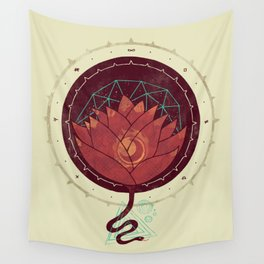 Red Lotus Wall Tapestry