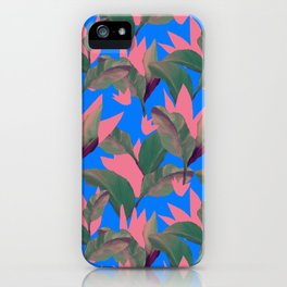 Retro Luxe Lilies Electric Blue Pattern iPhone Case