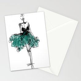 green dress Stationery Cards
