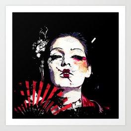 Japanese Creepy Geisha Art Print