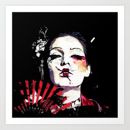 Japanese Creepy Geisha Art Print