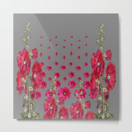 GREY RED-PINK HOLLYHOCK  LOVERS  PATTERN GARDEN Metal Print