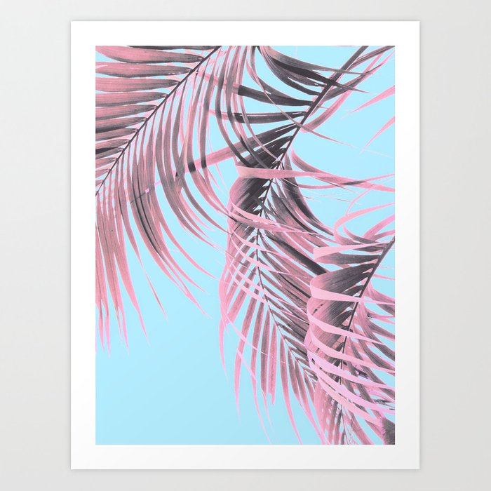 Delicate Pink Palms Art Print by cafelab
