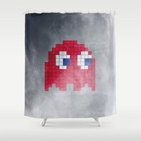 pac man Shower Curtains featuring Pac-Man Red Ghost by Psocy Shop
