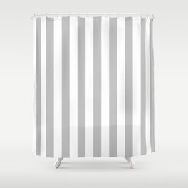 Narrow Vertical Stripes - White and Silver Gray Shower Curtain