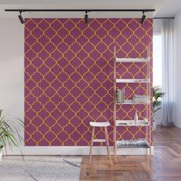 Chic Moroccan Quatrefoil Deep purple  Wall Mural