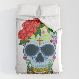 Day of the dead mexico skull vector Comforters