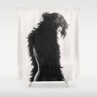 kili Shower Curtains featuring Raven kili by AlyTheKitten