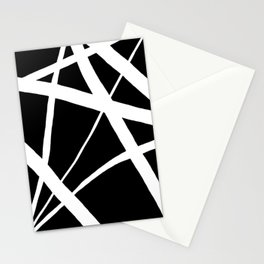 Geometric Line Abstract - Black White Stationery Cards