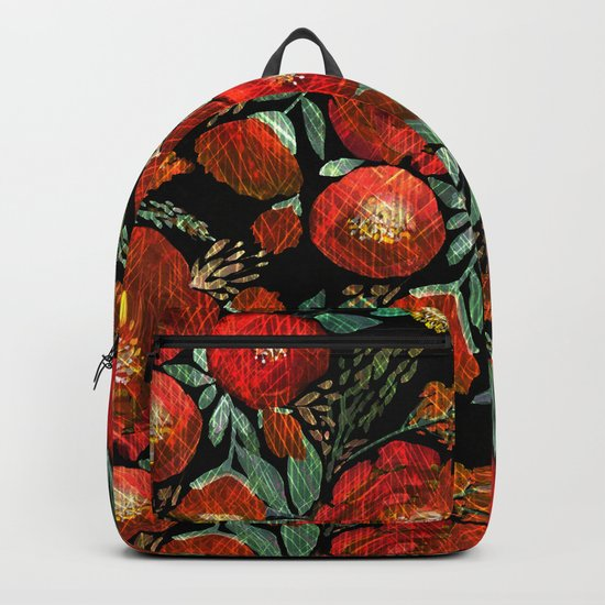 Red flowers on a black background. Backpack