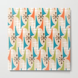 Mid Century Modern Atomic Wing Composition 66 Brown Orange Turquoise and Chartreuse Metal Print
