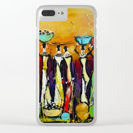African Tribal Women Wall Art Clear iPhone Case