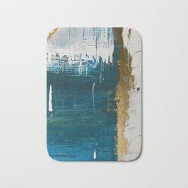 Rain [3]: a minimal, abstract mixed-media piece in blues, white, and gold by Alyssa Hamilton Art Bath Mat