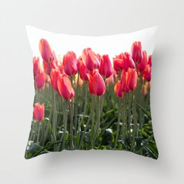 Long Red Tulips Throw Pillow