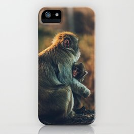 Macaque Motherly Love iPhone Case