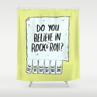 rock and roll Shower Curtains featuring Believe in Rock & Roll by Josh LaFayette