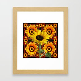 SOUTHWESTERN  BLACK COLOR YELLOW SUNFLOWERS ART Framed Art Print