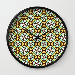 Barcelona cement tile in yellow, brown and blue Wall Clock