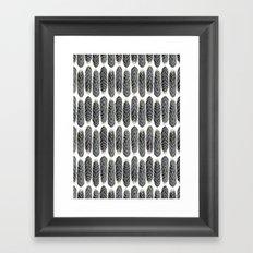 Black Stripe Feather Pattern Framed Art Print